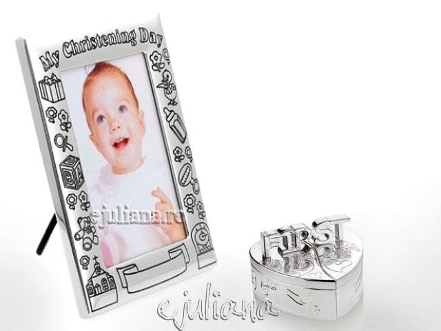 Cadou de botez argintat pentru bebelusi Juliana