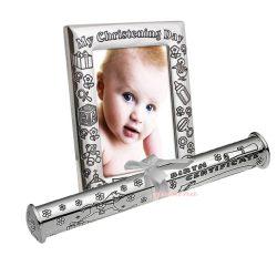 Rama foto si suport certificat de nastere argintat