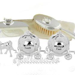 Set argintat mot, dintisor, perie si pieptan cadou de botez pentru fetita