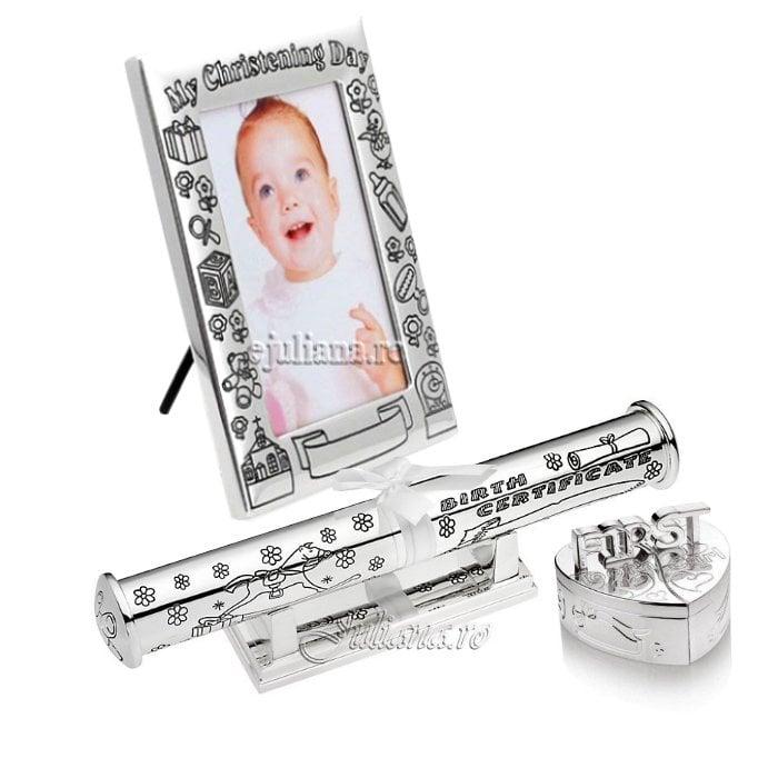 Cadou de botez argintat Juliana