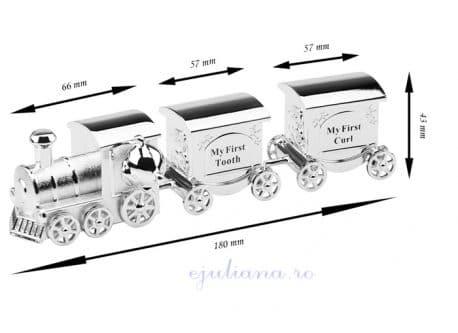 Set mot dintisor tren argintat cadou botez baiat Juliana