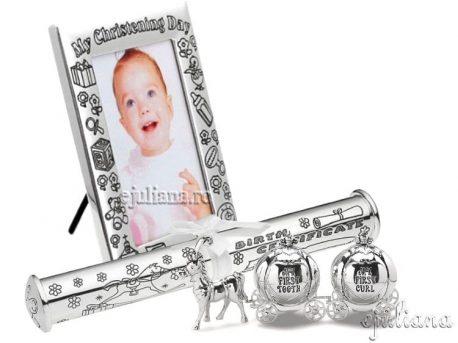 Cadou pentru fetita rama botez bucla dintisor suport pentru certificat