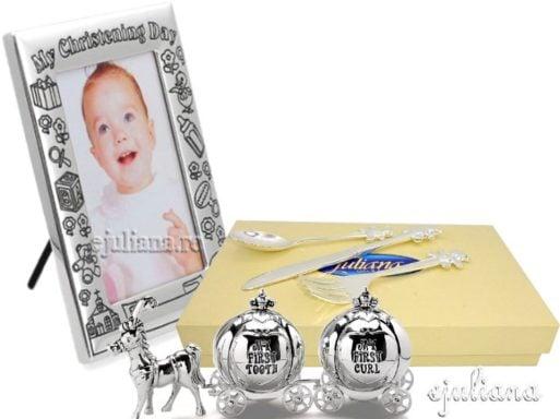 Cadou pentru fetita rama botez bucla dintisor tacamuri