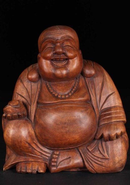 Buddha Fericit statue din lemn