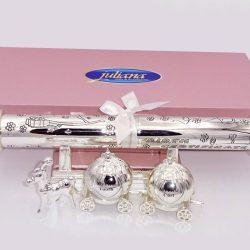 Set roz cadou de botez pentru fetita din colectia Premium Juliana.