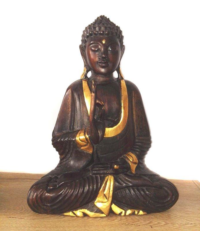 Statueta Buddha lemn auriu Buddha simbol de pace interioara