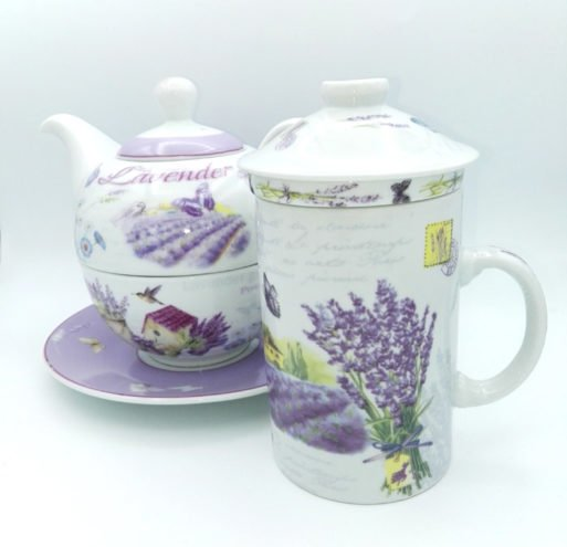 Set portelan cu lavanda cana si ceainic