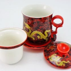 Cana de ceai din portelan fin de colectie cu infuzor