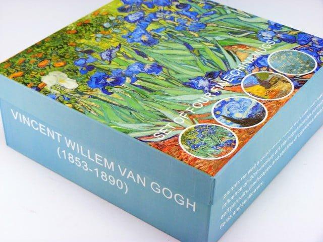 Patru cani Vincent Van Gogh cutie cadou, Cesti de cafea din portelan cu picturi