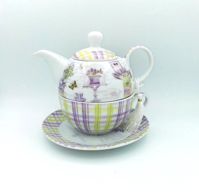 Set ceainic ceasca lavanda in cutie rotunda