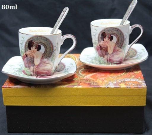 Cesti de portelan espresso Alfon Mucha