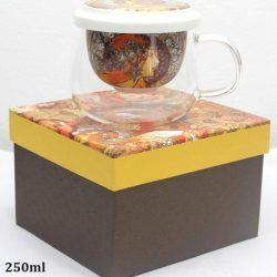 Cana de ceai yena si portelan Mucha