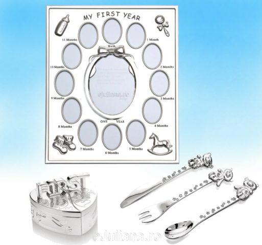 Rama primul an suvita dintisor tacamuri cadouri argintate baietel