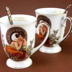 2 cani de cafea Alphonse Mucha
