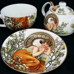 Set ceainic Alphonse Mucha portelan alb