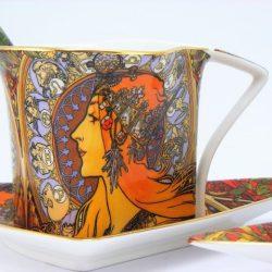 Set cesti cafea triunghiulare Alphonse Mucha
