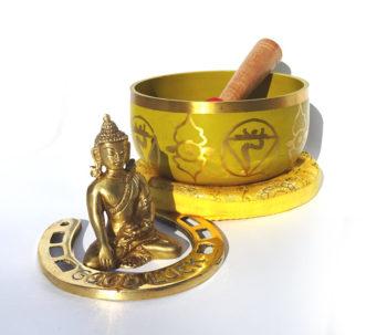 Bol cantator auriu potcoava statueta Buddha bronz