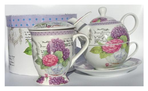 Cana si ceainic cu hortensie