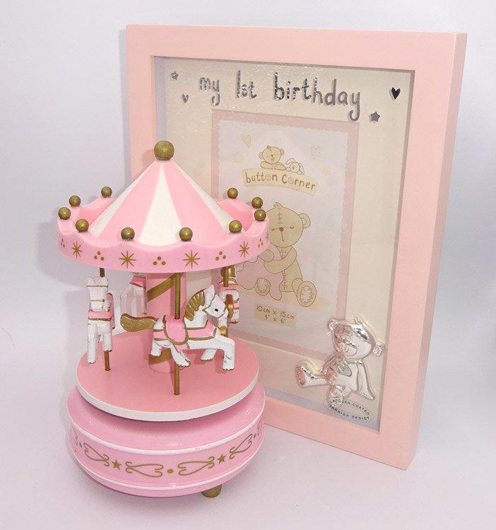 Carusel muzical roz alb si prima rama roz a fetitei, cadou pentru prima aniversare