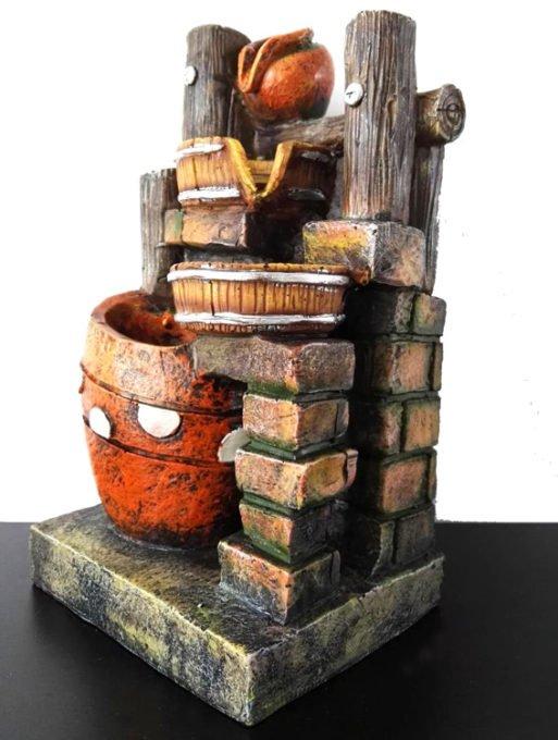 Fantana arteziana feng shui cu oale lemn si piatra