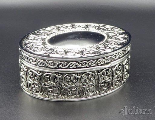 Caseta vintage argintata ovala mica 3.5x7.5x9cm