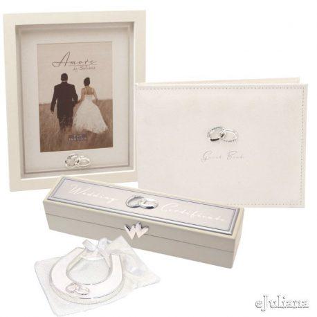 Set cadou Wedding Amore by Juliana, carte de oaspeti, caseta pentru certificat, potcoava cu verighete si rama foto pentru miri.