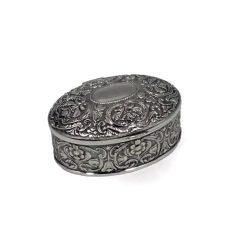 Caseta vintage argintata ovala pentru bijuterii