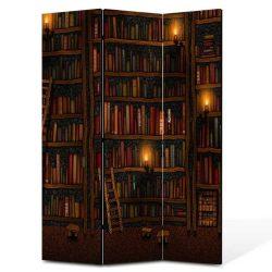 Paravan biblioteca cu carti trei panouri