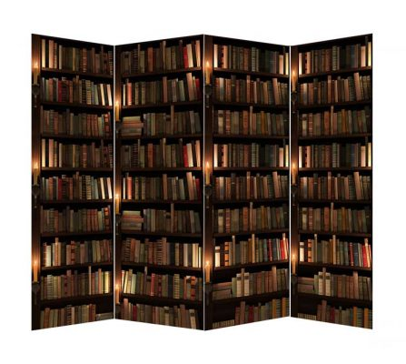 Paravan carti cu 4 panouri de panza canvas imprimata cu imagini reprezentand rafturi de biblioteca cu carti vechi, clasice.