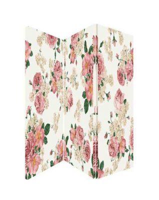 Paravan despartitor flori de bujori, cu trei panouri de panza canvas