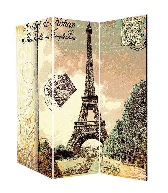 Paravan vintage Turnul Eiffel, model cu trei panouri pe cadru de lemn