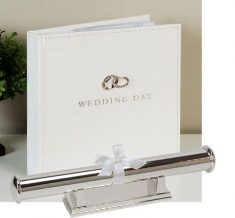 Album suport pentru certificat de nunta argintat simplu