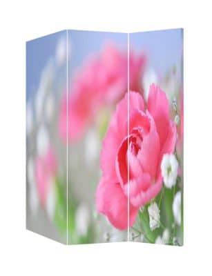 Paravan despartitor decorativ cu bujori roz