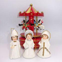 Carusel muzical globuri de pom figurine de ceramica decor Craciun