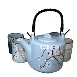 Ceainic si cesti bleu cu flori set oriental