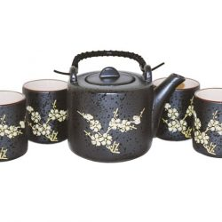 Ceainic cesti portelan antichizat flori de cires
