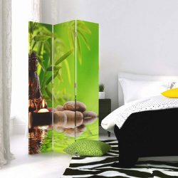 Paravan decorativ Buddha bambus verde, Paravane decorative