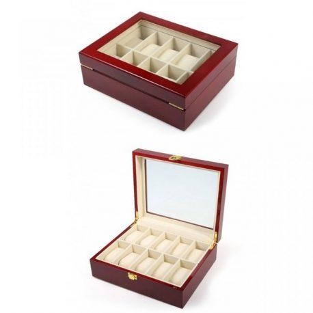 Cutie de ceasuri din lemn natural rosu lacuit