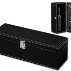 Cutie cu accesorii pentru sticla de vin piele neagra