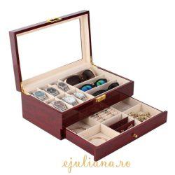 Organizator cutie ceasuri ochelari si bijuterii