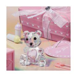 Ursulet de cristal roz pentru fetita, marturii de botez