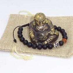 Buddha bratara de onix negru si rudraska