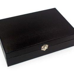 Cutie 12 ceasuri neagra Lizard, caseta 12 compartimente pentru ceasuri de mana