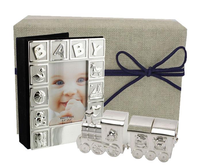 Album tren vagon argintat pentru baietel, cadouri din colectia de botez si prima aniversare a bebelusului, de la Juliana.