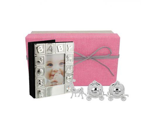 Album foto si set pentru mot si dintisor argintat cadou pentru fetita