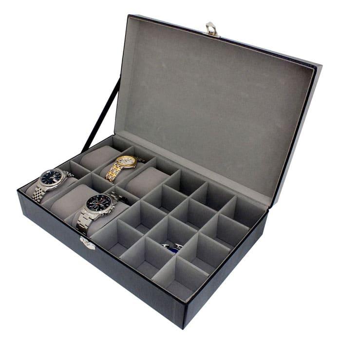 Cutie de ceasuri si butoni de camasa, caseta neagra compartimentata in interior, recomandata pentru barbati