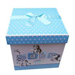 Cutie trusou pentru baietel, cutie eleganta cu capac si fundite bleu, accesorii utile la botez.