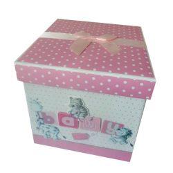 Cutie trusou pentru fetita, cutie eleganta cu capac si fundita roz