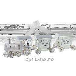 Tren mot dintisor suport certificat de nastere argintat Twinkle