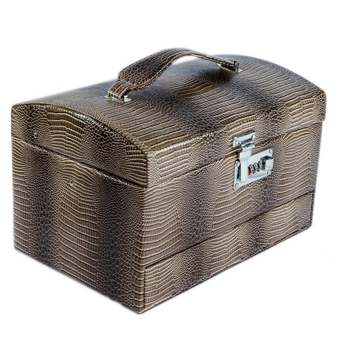 Cutie pentru bijuterii piele croco maro